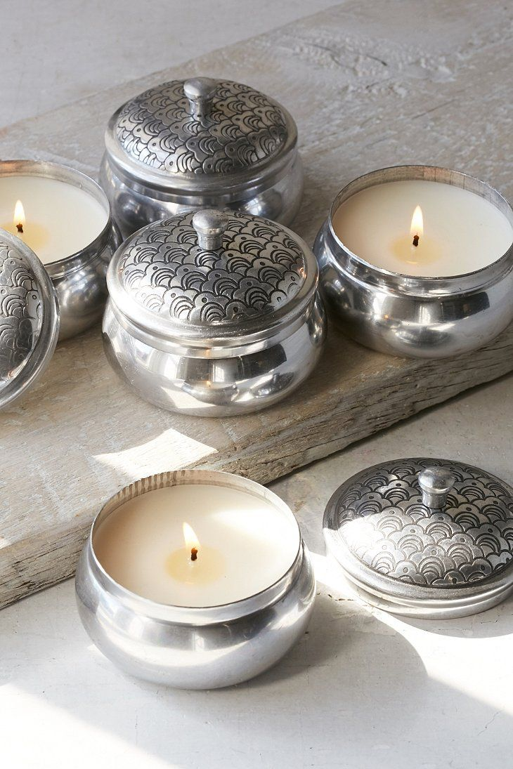 Boho Embossed Tin Candle - Urban Outfitters. Mandarin mint