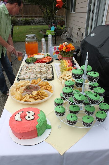 veggie tales birthday party.  bob the tomato cake.  food table decor