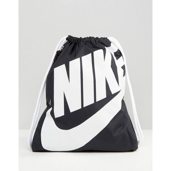 Nike Heritage Drawstring Backpack ($18) ❤ liked on Polyvore featuring bags, backpacks, black, nike bags, draw string backpack, drawstring knapsack, nike and backpack bags