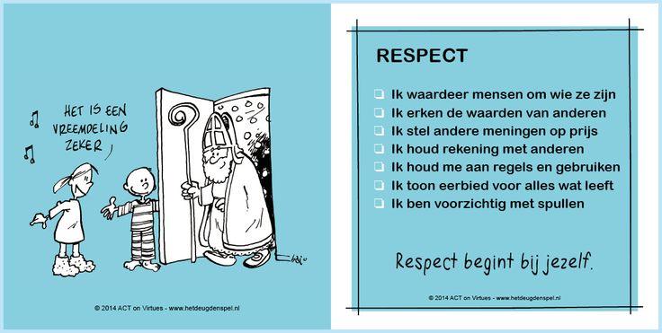 Voor- en achterkant van de deugdenkaart Respect