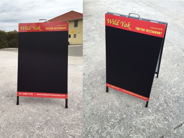 A-Frames / Sandwich Board for Wild Yak Restaurant. Blackboard Vinyl applied.