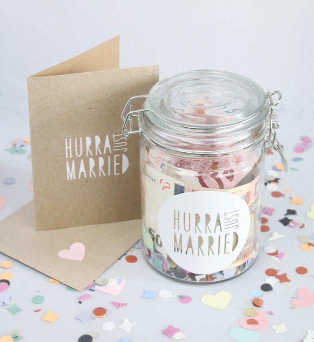 Bügelverschlussglas und Karte als Geldgeschenk für das Brautpaar / glass jar and greeting card as a gift for bride and groom made by Braut&Bräutigam via DaWanda.com
