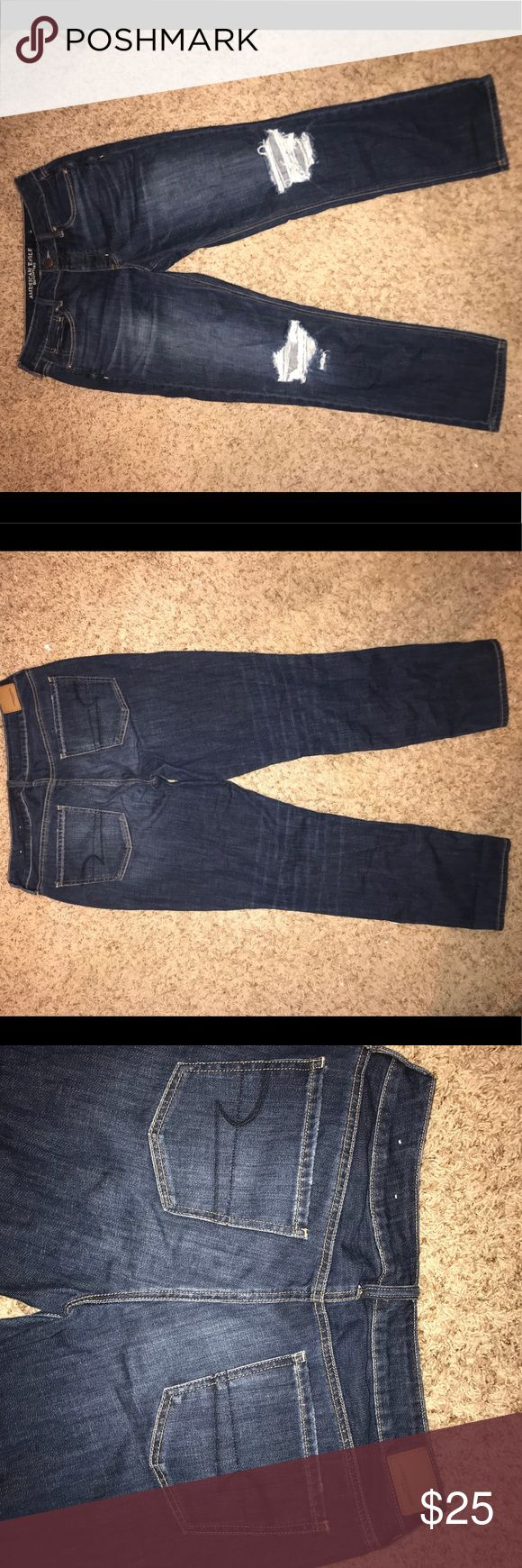 Dark wash tom-girl jeans Never worn they are really nice just were to big American Eagle Outfitters Jeans