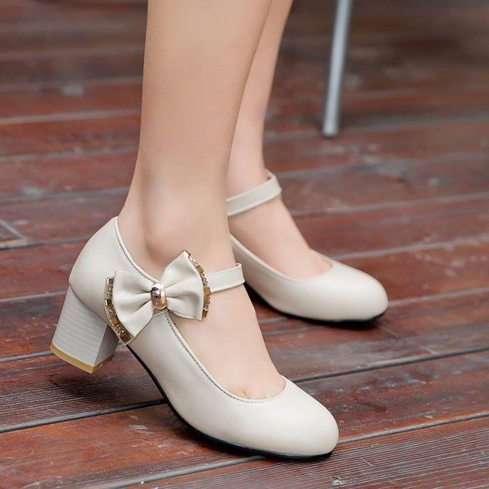 fashion womens cuban heel vintage bowknot mary janes lita pump shoes size 4 105