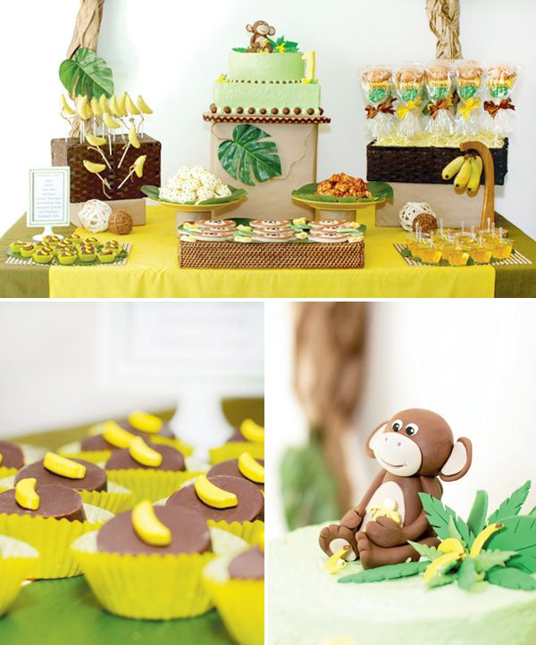monkey-birthday-party-dessert-table, love the chocolate covered marshmallows with bananas on top