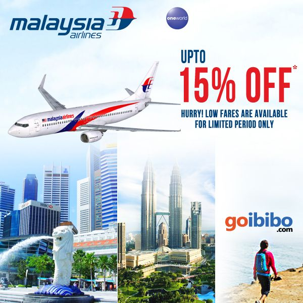 Upto 15% discounted fares on Malaysia Airlines. Hurry! Low fares are available for limited period only. Book Now https://www.goibibo.com/international-flights/malaysiaairlines/