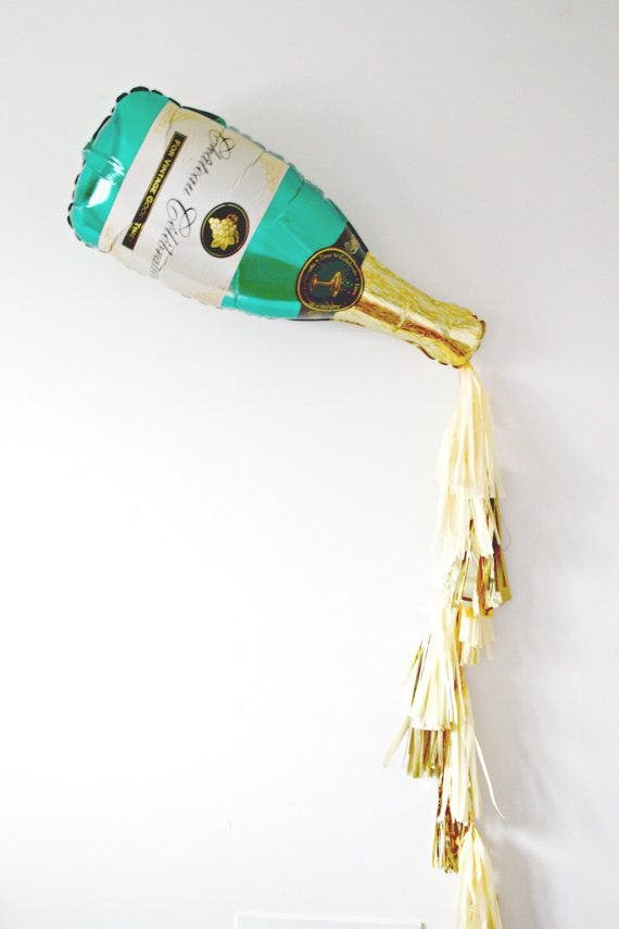 New Years Eve Champagne Bottle Tassel Balloon, Bachelorette Party Decor, Photo Booth Prop, Gold and Champagne Backdrop, Pop Fizz Clink by pomtree