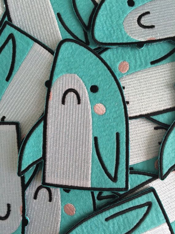 Great Bummed Shark  large iron on embroidered felt by KodiakMilly