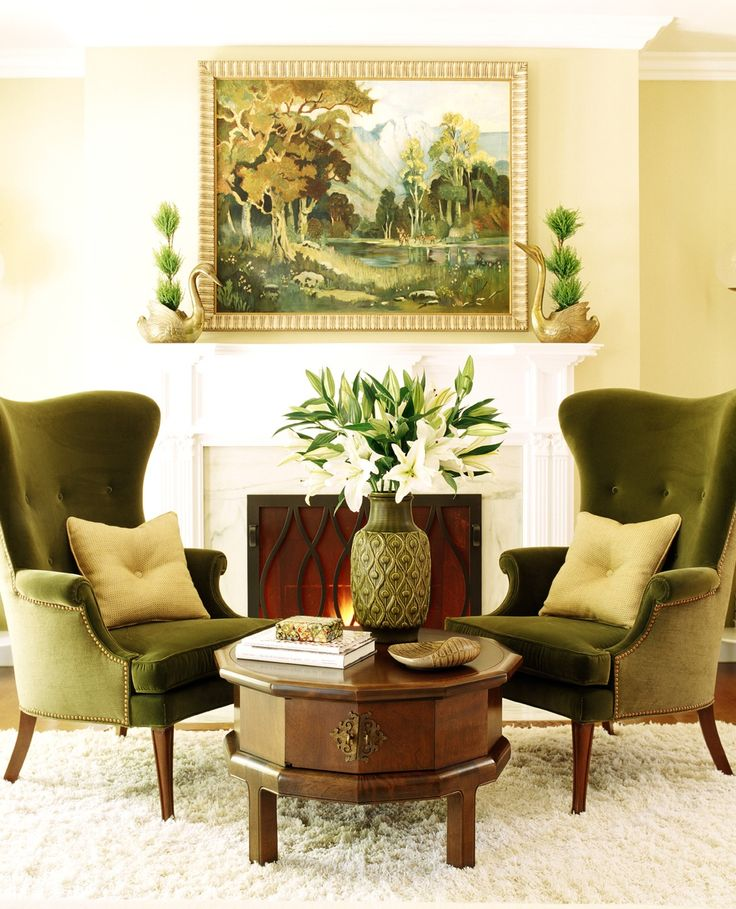 twin green wing chairs flank the fireplace and create a cozy conversation area traditional home photo tim street porter design jeff andrews - Diy Entfernbarer Backsplash
