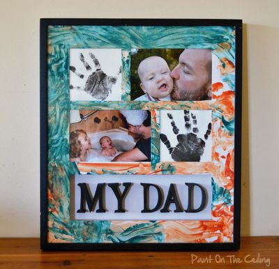 Dads-donuts idea...use painted page as backdrop for original drawing of Dad, writing, facts about Dad, copied picture brought from home.