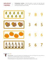 Thanksgiving math worksheets that highlight important kindergarten math topics with fun and engaging Thanksgiving pictures.
