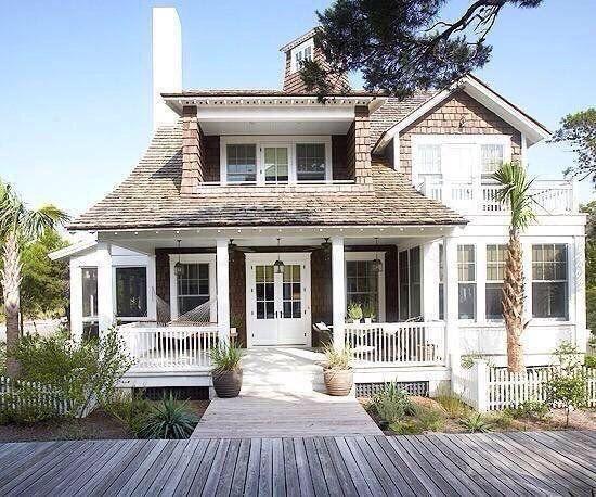 Beach house with shaker shingles