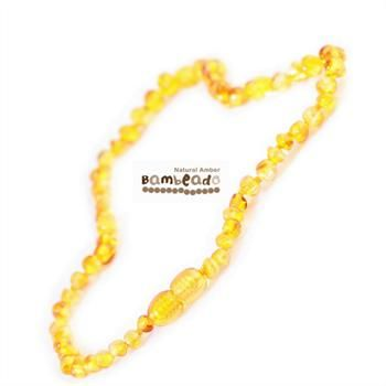 This might help with your baby teething or if your baby has eczema.This Bambeado amber necklace comes in a Honey colour. The amber necklace is approx 32-34cm in length. Bambeado amber is genuine baltic amber. Bambeado's are to be worn and not chewed. Each bead is individually knotted to help with safety. The amber necklace comes together with a plastic screw clasp. The amber necklace is designed to give way at the clasp or one bead will only break off if broken.