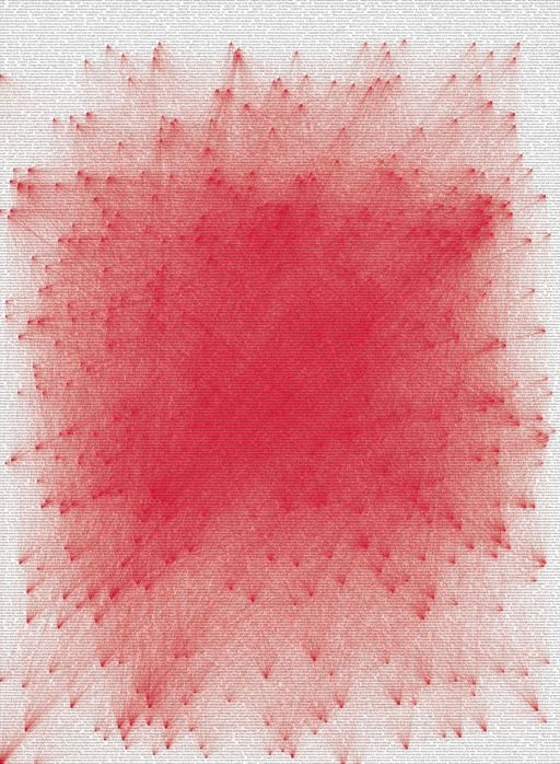 """Every """"Romeo"""" and """"Juliet"""" in the entirety of Shakespeare's play brought together with 55,440 red lines."""