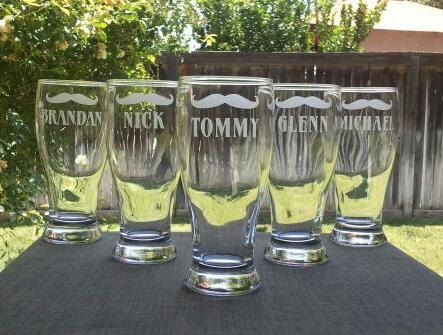Groomsmen Pilsner Glasses,Etched gift,Best Man Gift,Bridesmaid Gift,Personalized Wedding Toasting Glasses,Father of the Bride,Usher Gift. $10.00, via Etsy.