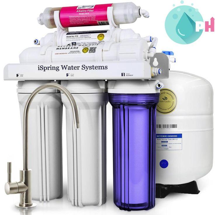 6-Stage Under-Sink Reverse Osmosis Water Filter with Alkaline Remineralization, White