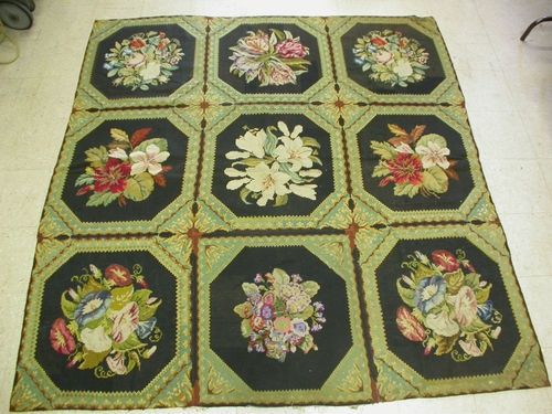 ANTIQUE SWISS NEEDLE POINT AUBUSSON HAND MADE WOOL CARPET RUG 6.11x6.10