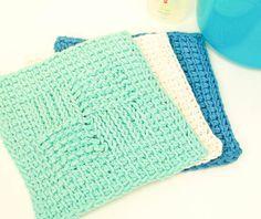 Sampler Washcloth Tunisian Crochet Pattern | www.petalstopicots.com | #crochet #tunisan #washcloth #dishcloth