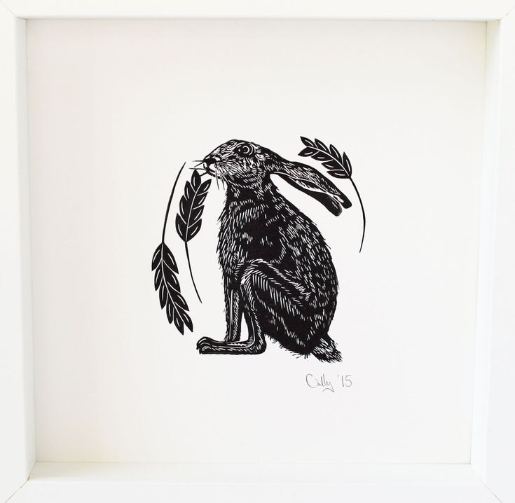 Hare, Linocut by Cally Conway | Artfinder