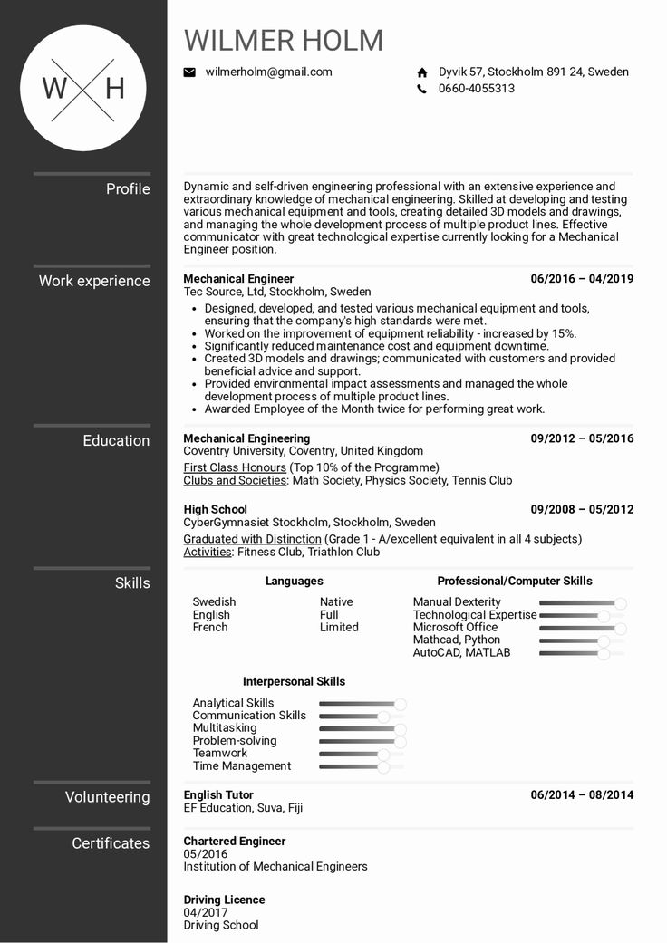 25 Mechanical Engineering Resume Template in 2020