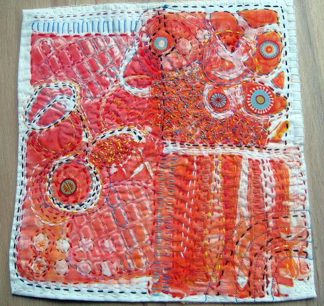 """""""orange sherbet"""" by Jane LaFazio: gelatin plate monotypes on fabric with embroidered embellishments"""