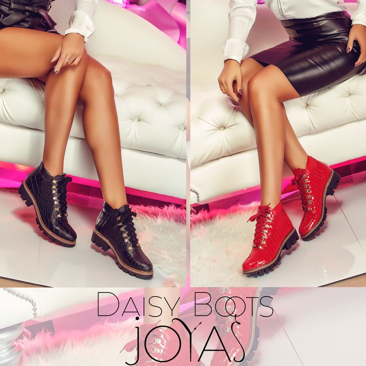 The Daisy boots made of natural leather with croc effect are perfect for this season @j