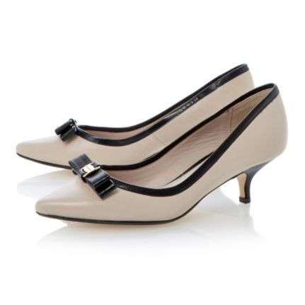 DUNE LADIES Neutral ALFA BOW - Bow Trim Pointed Toe Kitten Heel Court Shoe By Dune Shoes Online #dune #dunelondon #bows #heels #kittenheel #courts #shoes #pumps #point #nude #smart #office #work #business #feminine #fashion #style #classy