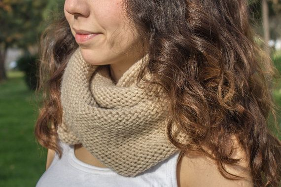 Beige Infinity Scarf  Hand Knit  winter scarfs neck by detcraft