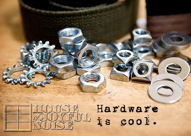 Boys' Hardware Accessories:   DIY Belts, Bracelets & Necklaces. (Hardware is cool!)