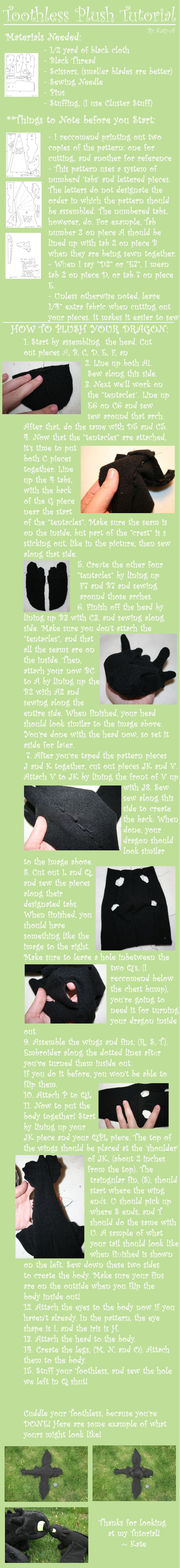 diy toothless (how to train your dragon) plush + tutorial + pattern