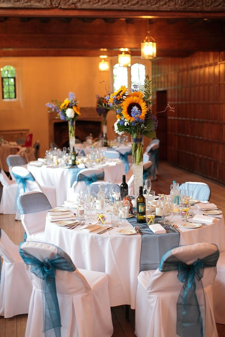 Sunflower and Teal themed wedding breakfast at Hall Place, Bexley