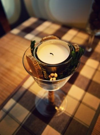 xmas table decoration, candle and wood