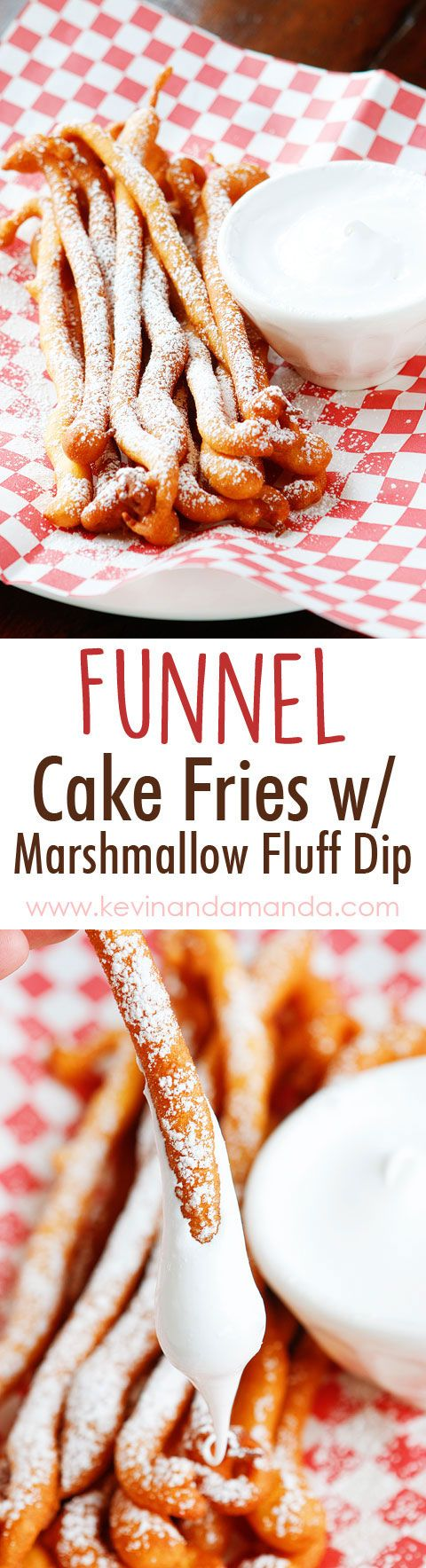 Funnel Cake Fries with Marshmallow Fluff Dip - So fun!! Super easy method, what a great idea!