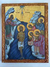 The Baptism of Christ  -handmade Greek orthodox Russian byzantine icon