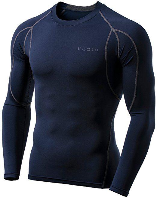 TM-MUD11-NVY_Large Tesla Men's Long Sleeve T-Shirt Baselayer Cool Dry  Compression