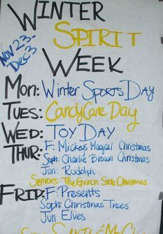 Image result for holiday spirit week ideas student for Christmas spirit ideas