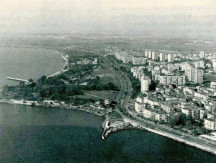 1970'lerde Bakırköy Sahiline havadan bir bakış. Sol tarafta önde Gelik Lokantası.