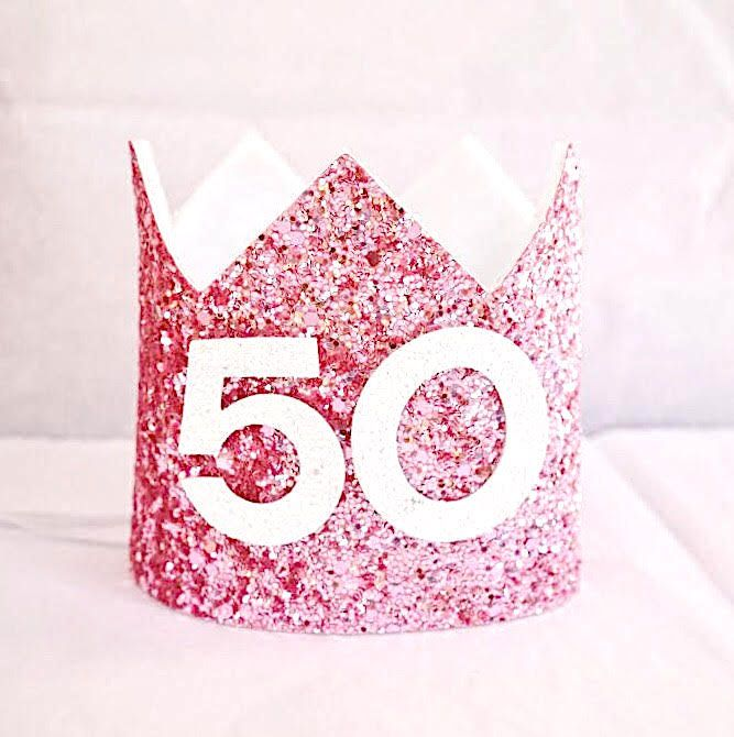 Adult Birthday Crown 50th Party Hat Turning 50 Gift For Her Fiftieth Bir