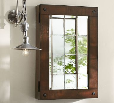 """Benchwright Wall-Mount Medicine Cabinet #potterybarn-$399.00-ustic warmth of 19th-century factory furniture was the muse behind our Benchwright Medicine Cabinet. A deeply weathered wooden frame detailed with exposed hardware gives it bold industrial style; 22"""" wide x 5.25"""" deep x 33"""" high; solid poplar. Fitted with beveled mirror.  Features three adjustable; tempered-glass shelves."""