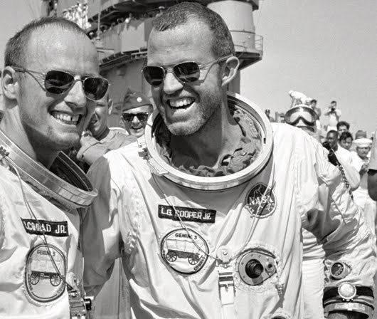 """American Optical Aviator sunglasses. Worn by Astronauts Gordon Cooper & Charles """"Pete"""" Conrad shortly before the Gemini 5 mission in 1965"""