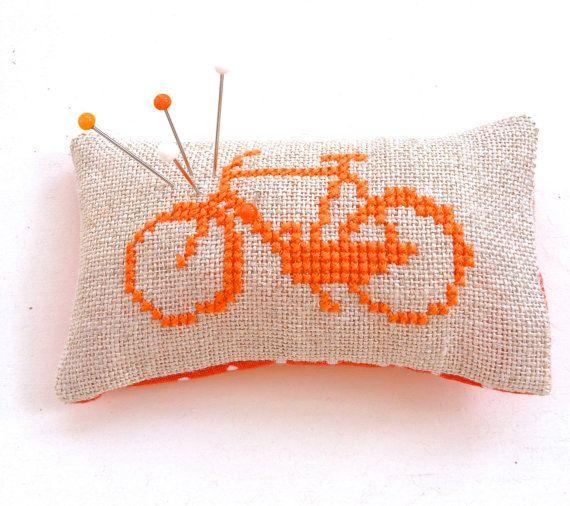 Dutch Bicycle Pincushion Amsterdam Holland Bike Cross Stitch Souvenir Orange Polkadot Fabric