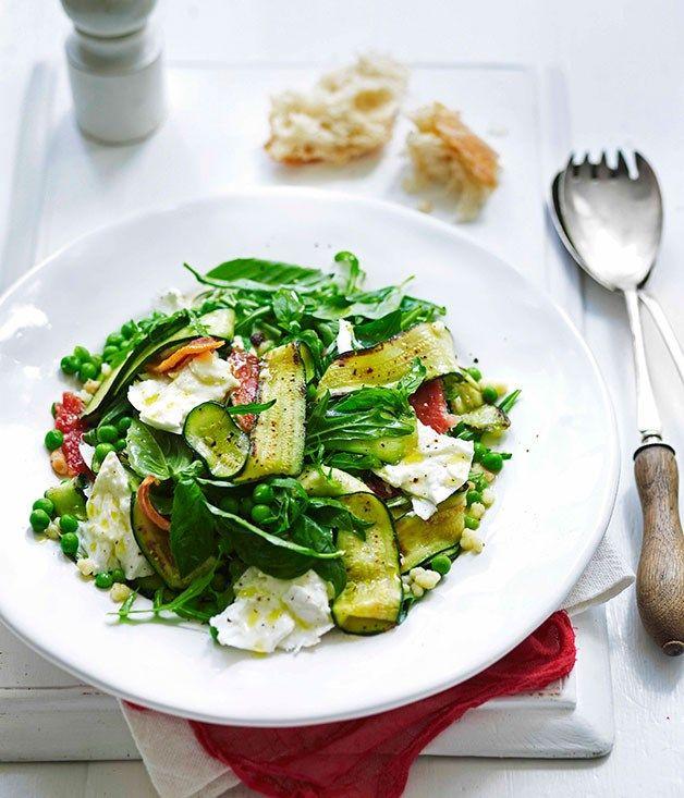 Zucchini, guanciale, mozzarella and fregola salad |