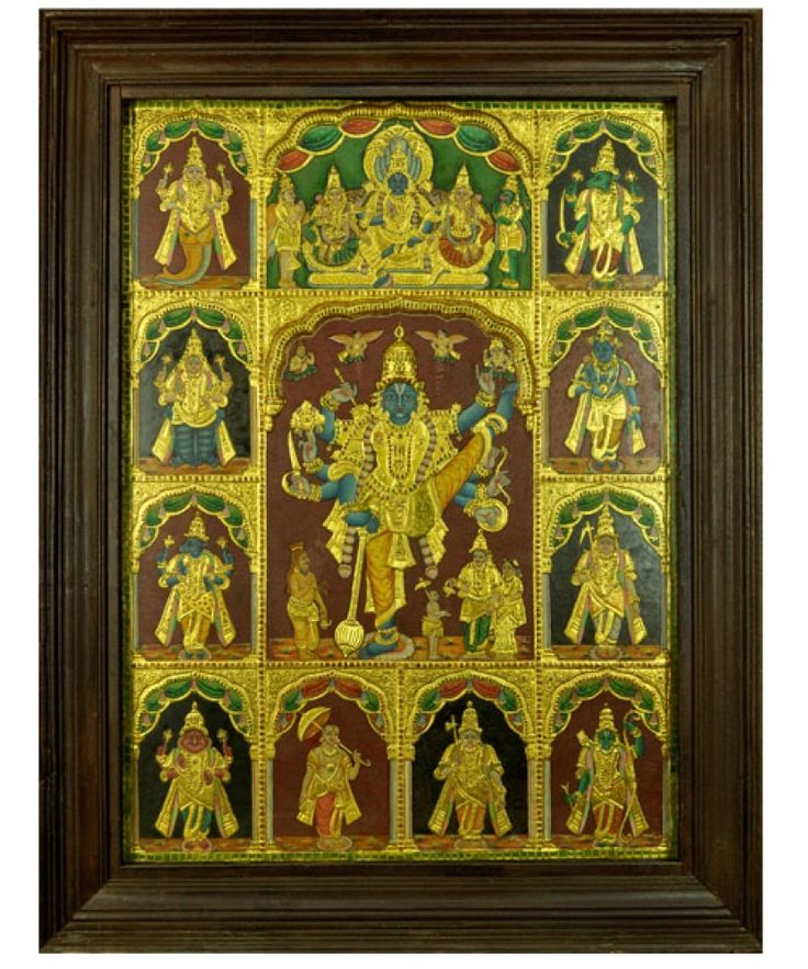 Dashavataram See more at https://www.madhurya.com/tanjore-paintings/vishnu.html #tanjorepaintings #vishnupainting