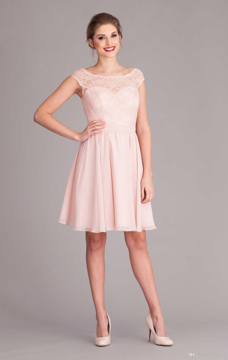134 best lace and chiffon short bridesmaid dresses images on blush lace and chiffon short beach bridesmaid dresses 2015 cap sleeve backless with bow knee length ombrellifo Images