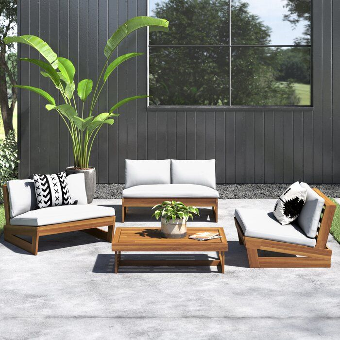 Michaelson 4 Piece Sofa Seating Group With Cushions Allmodern In 2020 Outdoor Sofa Sets Modern Outdoor Sofas Outdoor Seating Set