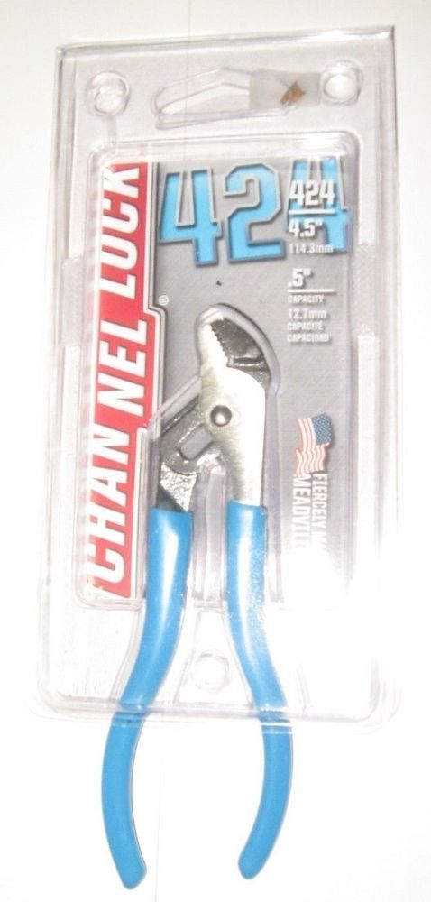 """CHANNELLOCK 424 4.5/"""" Tongue /& Groove Pliers NEW *free shipping* 0.5/"""" Capacity"""
