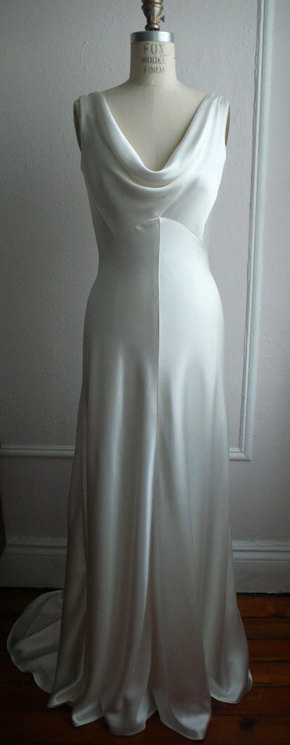 """1930's Inspired Bias Bridal Gown """"Ella"""", Low back, Backless, Cowl neck, Heavy Silk Satin, Customizable. $1,558.00, via Etsy."""