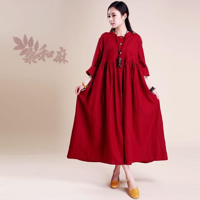 [ LYNETTE'S CHINOISERIE - Sang ] 2014 Summer Autumn Women National Trend High Waist Long Sleeve Plus Size Loose Long Linen Dress