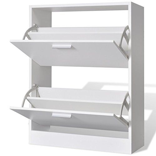 Anself Wooden Shoe Cabinet with 2 Compartments White---34.99---