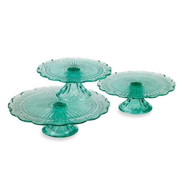 Maison Green Stacking Cake Plates - Bed Bath and Beyond: Green Cakes, Teal Colors, Glasses Cakes, Vintage Cakes Plates, Depression Glasses, Aqua Cake, Cake Plates, Vintage Cakes Stands, Cakes Dishes